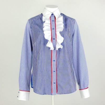 Bluse tailliert mit Rüschen, blau,