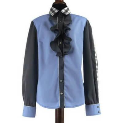 Taillierte Damenbluse mit Rüschen blau, grau 34/36