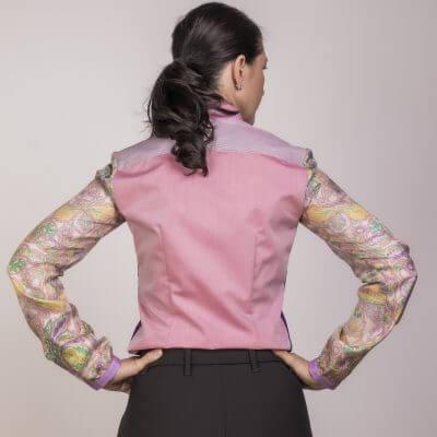 Rücken Seidenbluse in rosa