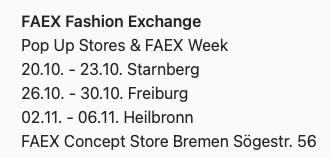 Faex Pop Up store Termine